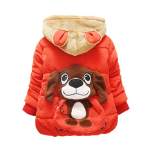 Fashion 1pc Retail Baby Boys Girls Dog Winter Coat Children Outerwear Kids Cotton Thick Warm Hoodies Jacket Clothing Q2012