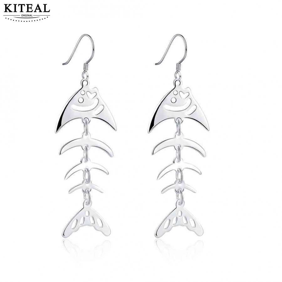 KITEAL Mode Neue Marke Design Luxurio silber farbe ohrringe für weibliche toten fisch knochen persönlichkeit kupe oso