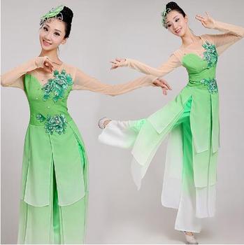 (0100) Embroidery Umbrella/fan/yangko dance Costume green female sequins chinese folk dance costumes classical dance
