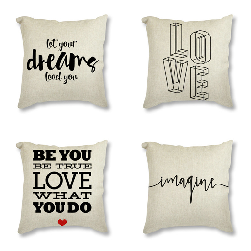 Mr Mrs Romantic Family Simple Quote Minimalist Letter Printed Decorative Cushion For Sofa Home Decor Linen Throw Pillowcase