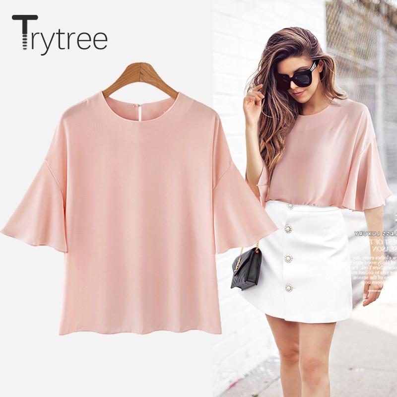 Trytree 2018 Sommer Frauen Bluse Casual Polyester hemd Anti-falten Rosa Blau Weiß Tops kleidung Casual Plus Größe baumwolle shirts