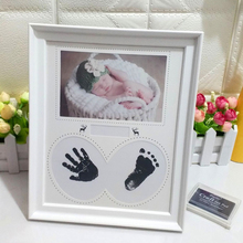 Gift Pictures Footprint PVC Newborn Baby Birthday Ink Pad Hanging Wall Handprint Bedroom Home Decor Kid Photo Frame