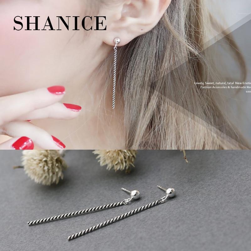 SHANICE BTS Earrings DNA Real Sterling Silver 925 Earrings Womens Retro Twrist Long Tassel Earring For Women Men Korean Pop