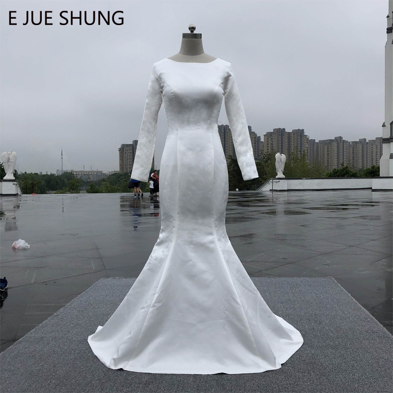E JUE SHUNG White Satin Simple Muslim Mermaid Wedding Dresses Long Sleeves Cheap Wedding Gowns Bride