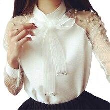 Купить с кэшбэком Women's Shirt Long Sleeves Elegant Organza Bow Fashion Woman Blouses Chiffon Shirts Women Clothing Blusas