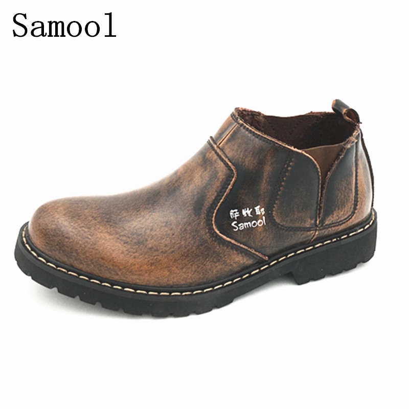 Men Shoes Flats Genuine Leather Breathable Shoes Autumn Winter Casual British Fashion Anti-skid Boots Comfortable Outdoor Shoes 2017 new autumn winter british retro men shoes leather shoes breathable fashion boots men casual shoes handmade fashion comforta