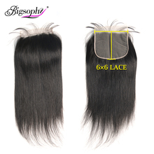 Bigsophy Brazilian Hair 6x6 Lace Closure Straight Human Remy With Baby 8-24 Inch Swiss Natural Color