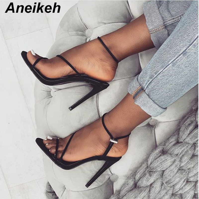 HTB15STAa.LrK1Rjy0Fjq6zYXFXav Aneikeh 2019 New Fashion Sandals Ankle Strap Cross-Strap Woman Sandals 12CM High Heels Narrow Band Slip-On Sandals Dress Pumps