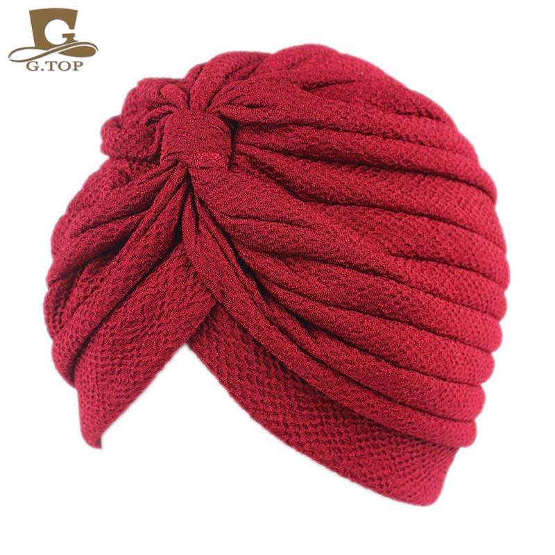 New Fashionable luxury  Solid Wrinkle Chevron Indian Turban Hats Cap Hijab For Women Ladies