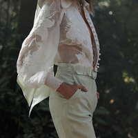 2019 Spring Solid White Women Shirts Fashion Elegant Blouse Turn down Collar Vacation Top Exquisite Embroidered Lace Blouse Top
