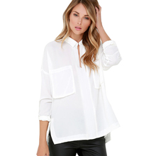 Sexy Dovetail Shirt Women Solid White Turn-down Collar Long Sleeve Tops Loose Double Pockets Female Blouse For Wholesale