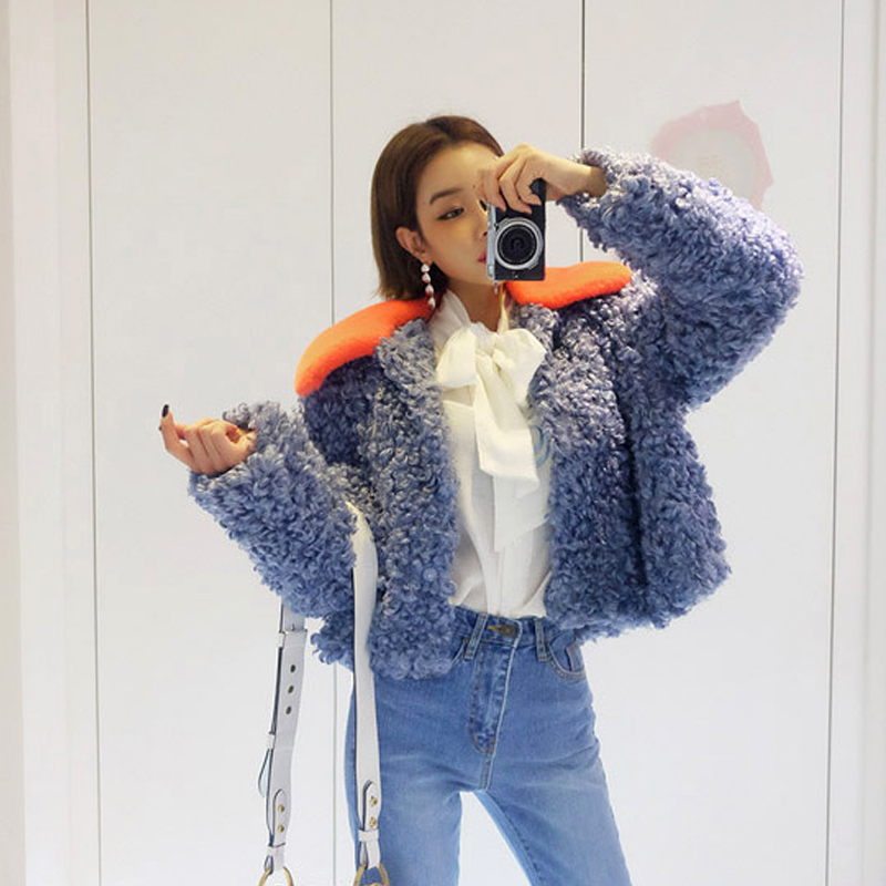 Autumn Winter Women Blue Faux Fur Coats Casual Loose Lapel Short Jacket Female Brand Warm Fluffy