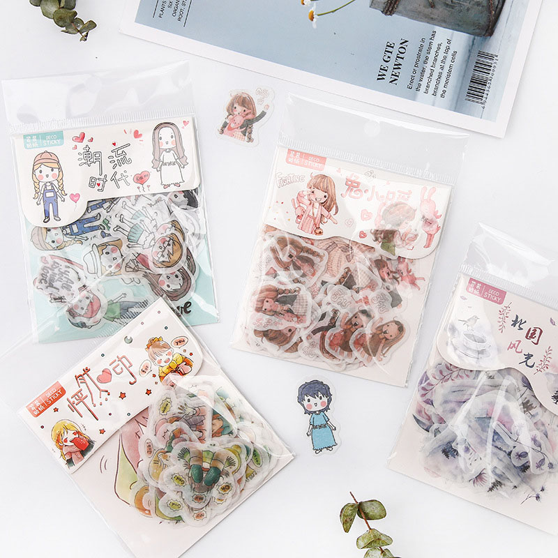 40Pcs Cute Cat Stationery Stickers Kawaii Flowers Stickers Paper Adhesive Stickers For Kids DIY Scrapbooking Diary Photos Albums