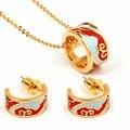 2017 Permanent Enamel Pendant Femme Dubai Gold Plated Jewelry  Colorful Enamel Earring Necklace Set For Women Stainless Steel