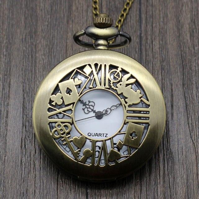 Hollow Rabbit Poke Key Bronze Retro Alice in Wonderland Theme Fob Pocket Watch w