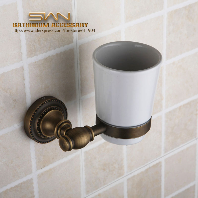 ФОТО Antique Brass Toothbrush Cup Tumbler Holders Clear Glass Bathroom Hardware 3A11311