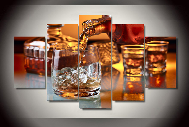 Glass Of Ice Whiskey Wall Art Picture Modern Home