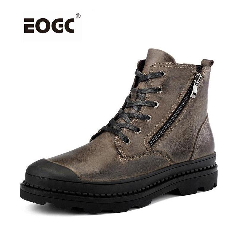 Винтаж Стиль Мужские ботинки из натуральной кожи осенне-зимняя обувь водонепроницаемые Рабочая безопасная обувь Для мужчин качество Ботильоны