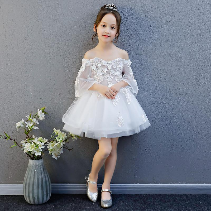 2019 Kids Girls Lace Tulle Wedding Birthday Party Dress Teen Girl Formal Princess Ball Gown Children Pearls Pageant Dress Q8782019 Kids Girls Lace Tulle Wedding Birthday Party Dress Teen Girl Formal Princess Ball Gown Children Pearls Pageant Dress Q878