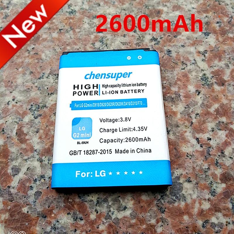 NEW 2600mAh BL-59UH <font><b>Battery</b></font> for <font><b>LG</b></font> G2 mini D620 D620R D620K D618 D315 F70 <font><b>D410</b></font> L65 D285