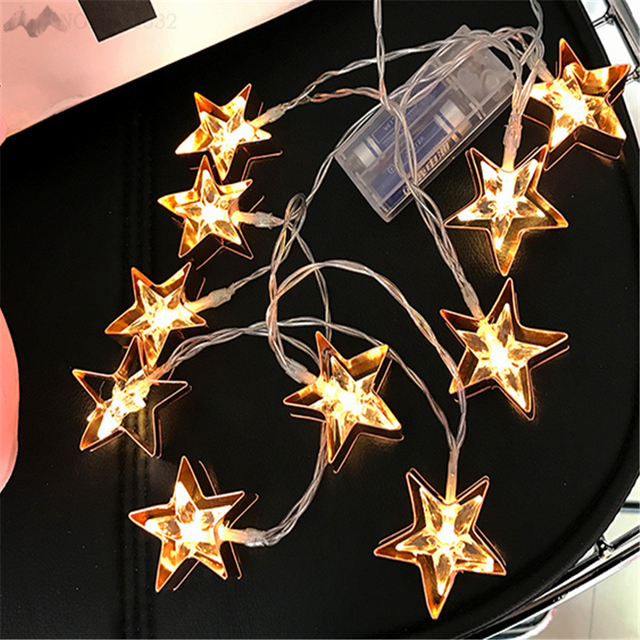 Lfh1 65m Star Style 10led String Night Lights Battery Indoor Christmas For Bedroom Cafe Bar Party Home Wedding Decoration
