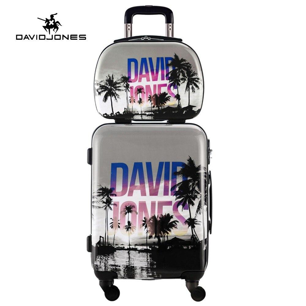 DAVIDJONES 2 PCS/SET carry-on luggage 20 & 13''make-up bag, Vintage Spinner trolley Travel woman rolling suitcase Cosmetic bag hp p242va