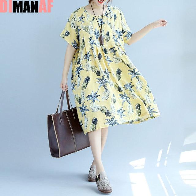 US $26.8 |DIMANAF Plus Size Summer Dress Women Linen Floral Female Hawaiian  Dress Beach Midi Style Sweet Loose Large Size Yellow Fat Dress-in Dresses  ...