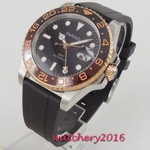 лучшая цена 40mm PARNIS Black Dial Luxury fashion Luminous Diver Rubber Strap Men's Gift GMT movement Sapphire automatic men Wristwatch