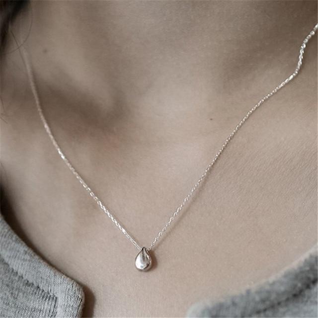 Jsmpfy 925 Collana In Argento Sterling e Pendenti con gemme e perle Piccolo a Forma di Goccia D'acqua Collane con pendente Per Le Donne Gli Studenti Collares Regali Di Compleanno