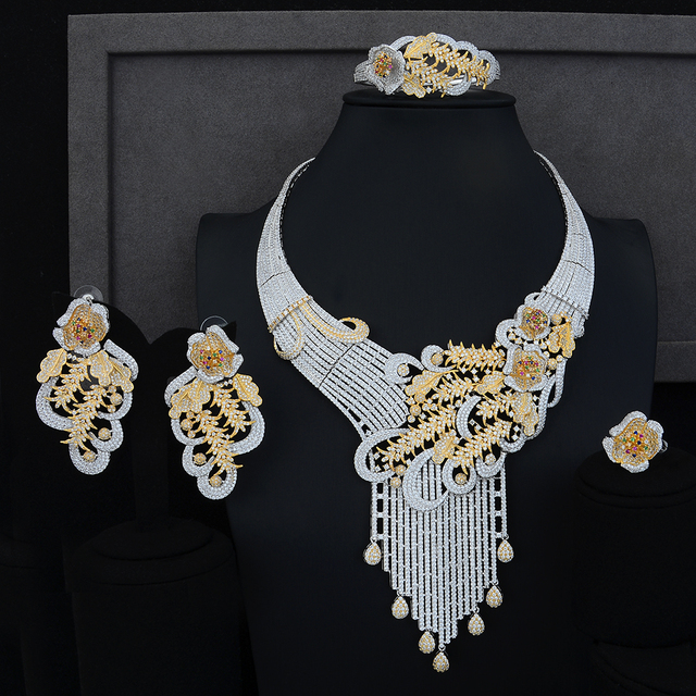 Luxury Peacock Tail Wedding Engagement Stage Occasion Necklace Bracelet Earring Ring Jewelry Sets High Quality Cubic Zirconia