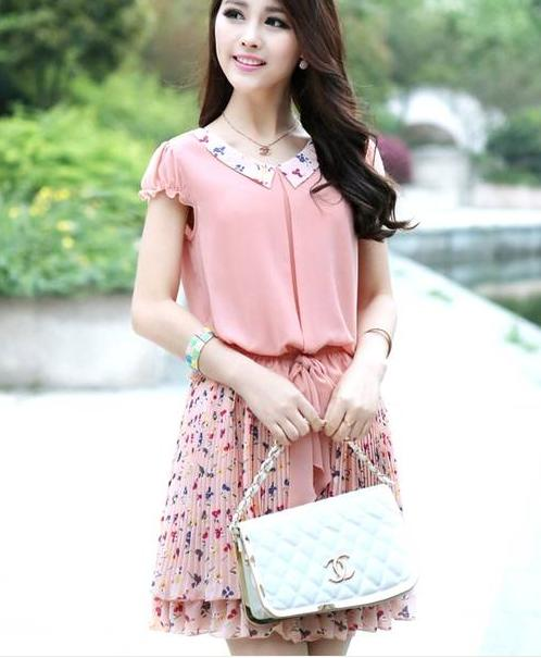 a1a8f8155 2015 ladies dress chiffon slim girl summer dress new Korean fashion ...