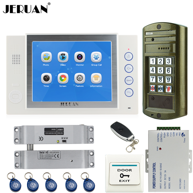 JERUAN NEW Metal Waterproof Access password keypad HD Mini Camera 8 inch TFT LCD Color Video Door Phone Intercom System kit 1V1 jeruan 8 inch tft video door phone record intercom system new rfid waterproof touch key password keypad camera 8g sd card e lock
