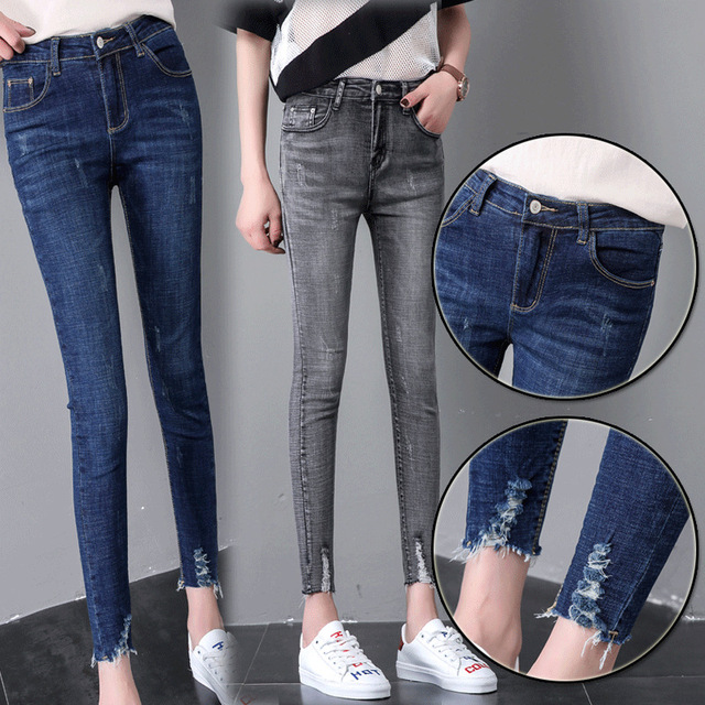 2019 CHOLYL Vente Chaude Élégant femme maigre jeans denim mince crayon  pantalon lavé cool taille haute
