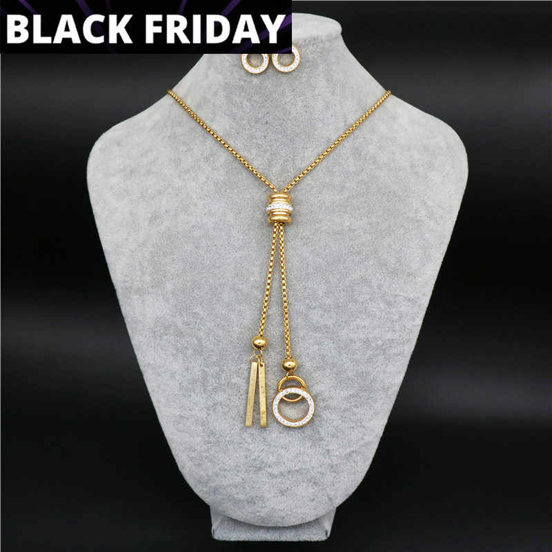 High Quality Fashion Stainless Steel Jewelry sets For Woman round Long Chain Necklace sets