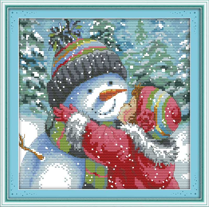 Kiss the Snowman Contó punto de Cruz 11CT 14CT DMC Conjuntos de punto de Cruz DIY Kits de punto de Cruz para Bordado Decoración Para El Hogar Costura