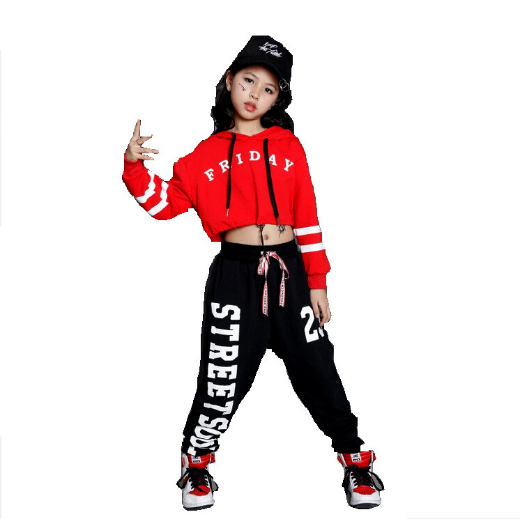 Girls Boys Loose Jazz Hip Hop Dance Sets Competition Costume Hoodie Shirt Tops Pants Teens Kid Dancing Clothing Clothes Wear kraft bd w 200q