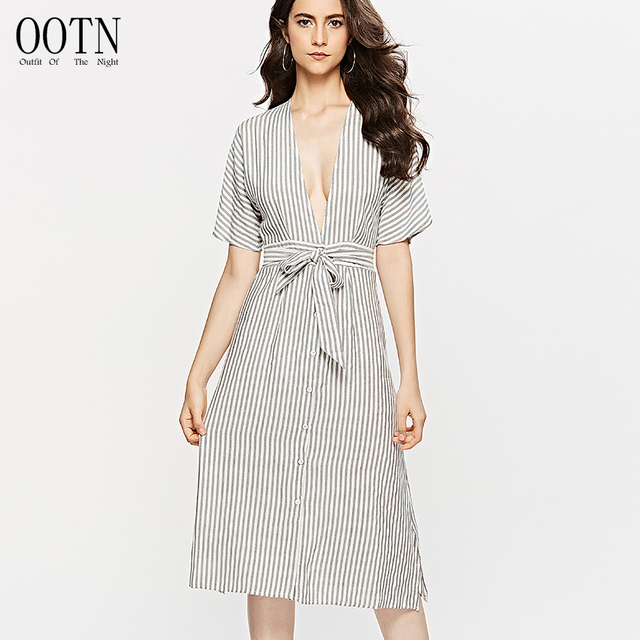 OOTN V Neck Dress Women Black White Striped Elegant Party Long Dresses Summer 2018 Beach Dress Shirt Dress Female Autumn Vestido