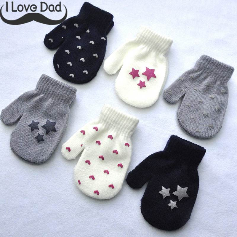 Baby Anti Scratch Mittens Dot Star Heart Pattern Baby Gloves Soft Knit Warm Gloves