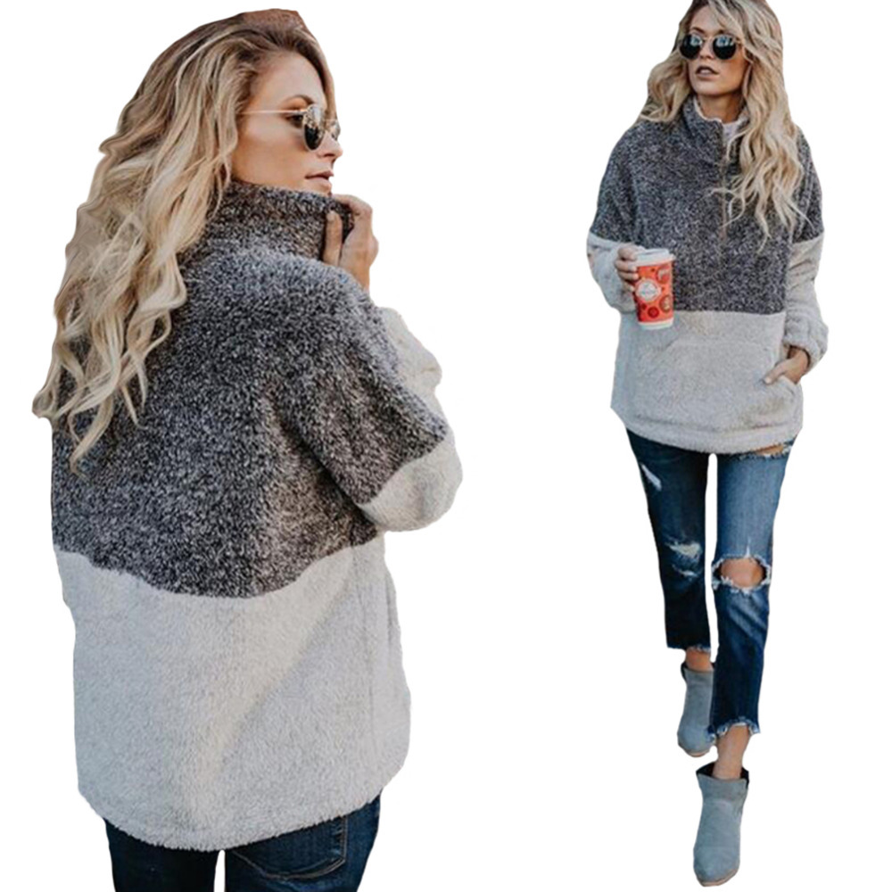 Hitmebox 2018 Autumn Winter Women's 1/4 Zipper Sherpa Knit Soft Fleece Pullover ColorBlock Sweater Outwear Coat kangaroo Pockets
