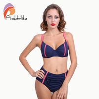 Andzhelika 2016 Newest Bikinis Women Fold Underwire Solid High Waist Swimsuit Plus Size Swimwear Bathing Suits