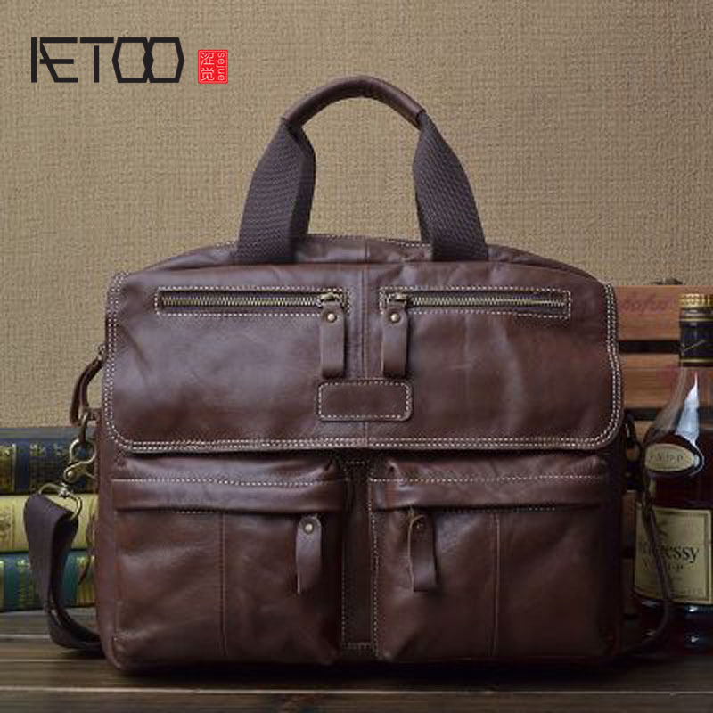 AETOO Original mad horse leather men bag Korean version of the leather oblique tide cover the first layer of cowhide retro handm men s leather oblique cross chest packs of the first layer of leather deer pattern men s shoulder bag korean fashion men s bag