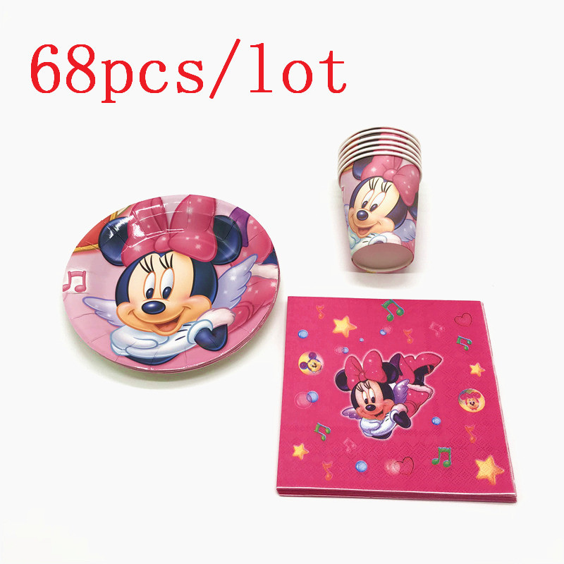 Party Supply 68Pcs/lot Disney Minnie Mouse Cartoon Tableware Set Kid Birthday Party Paper Cups+Plates+Napkins Decoration Supply