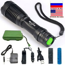 Dropshipping Powerful LED Flashlight E17 T6 L2 9000LM Waterproof Zoomable For Fishing Hunting Use 18650 Battery Stock in US,RU