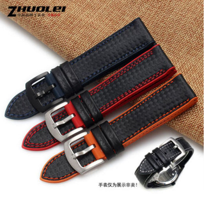 New moled Fashion Stitching Carbon Fiber with Waterproof rubber bottom watchband for brand Watch Band Strap 18 20 22 24New moled Fashion Stitching Carbon Fiber with Waterproof rubber bottom watchband for brand Watch Band Strap 18 20 22 24