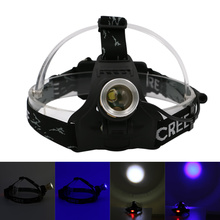 2000 Lumens 4 Modes Rechargeable UV Headlamp Adjustable Headlight Waterproof Head Lamp Lantern For Hunting,Use 18650 Battery