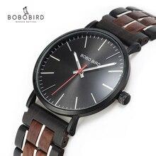 Relógio de pulso de quartzo movimento japão em caixa de madeira masculino bobo pássaro relógio masculino relógio de pulso de aço inoxidável