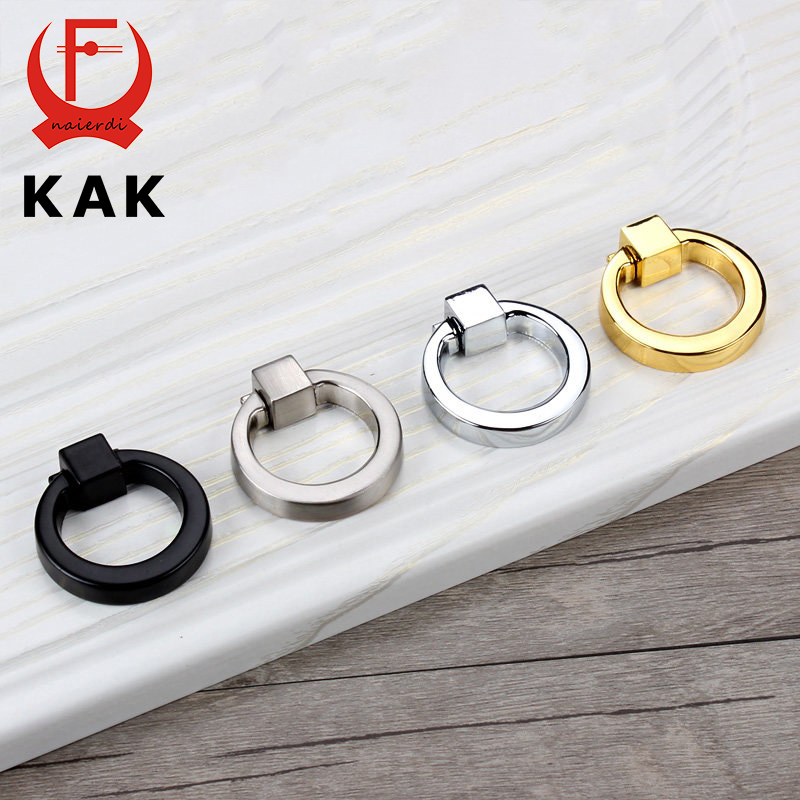 KAK 43mm Circle Handles Color Gold Silver Black Ring Zinc Alloy Door Handles Pulls Cabinet Drawer Knobs For Furniture Hardware