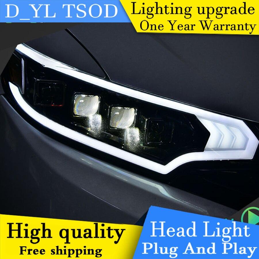 Auto part styling for honda fit headlights drl 2016 led light bar angel eye fog light q5 bi xenon lens h7 d2h xenon