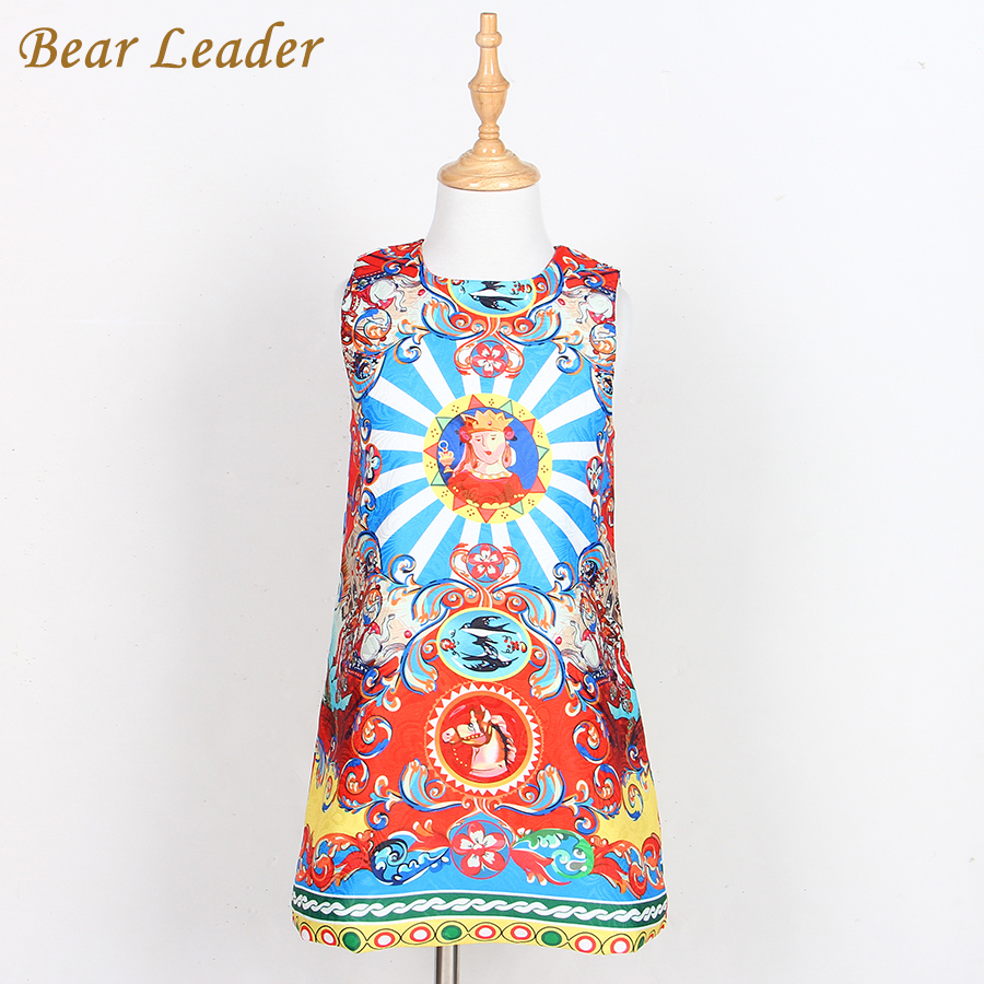 Bear Leader Girls Dress 2016 Brand Princess Dresses Girls Clothes Sleeveless Pelple Model Pattern Print Design for Kids Clothes bear leader girls dress 2016 brand princess dress kids clothes sleeveless red rose print design for grils more style clothes