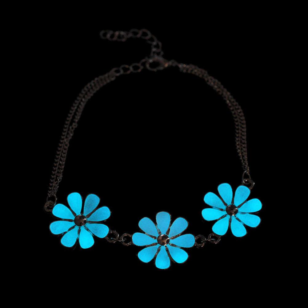 Tobillera pequeña con flor estrella del corazón que brilla en la oscuridad, pulsera de tobillo, joyería de mujer, novedad 2017